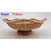 Coupe ronde osier naturel pied bois