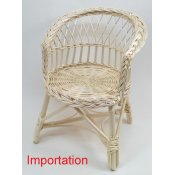 Fauteuil rond osier blanc