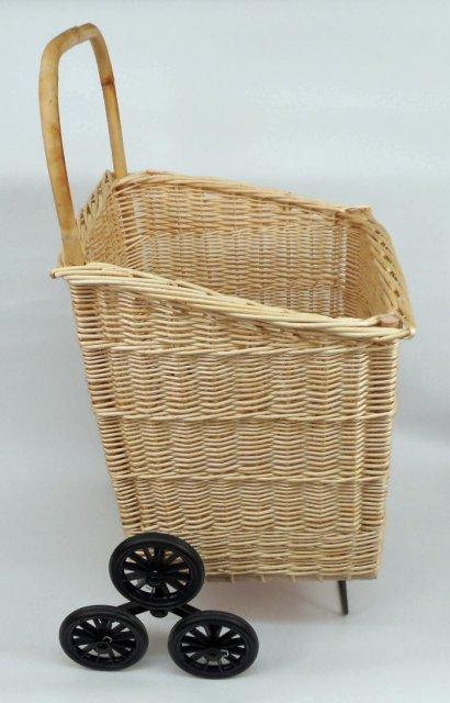 Charrette bois osier blanc 6 roues sp ciale scaliers vannerie delamotte - Escalier sur roulette ...